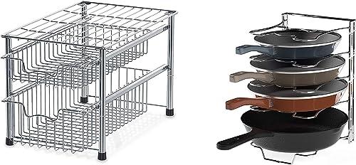 discount SimpleHouseware Stackable 2 Tier online sale Sliding Basket Organizer Drawer + 5 lowest Adjustable Compartments Pan and Pot Lid Organizer Rack, Chrome sale