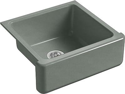 KOHLER K-5665-FT Whitehaven Farmhouse Self-Trimming 23-11/16-Inch x 21-9/16-Inch x 9-5/8-Inch Undermount Single-Bowl Kitchen Sink with Tall Apron, Basalt