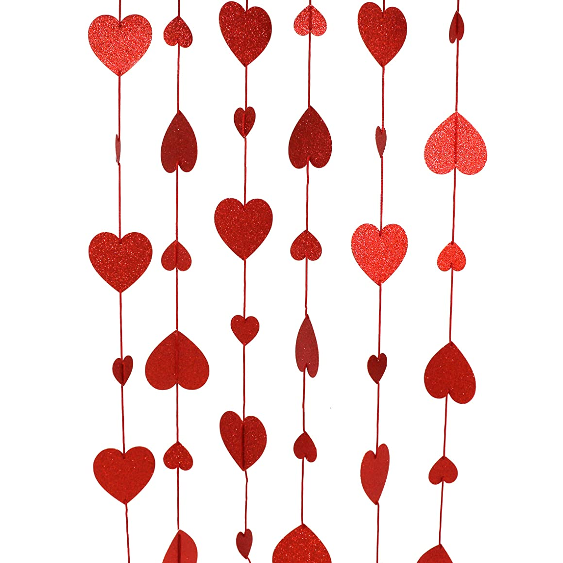CVHOMEDECO. Golden Twinkle Glittered Paper Heart Shape String Garland Unique Hanging Bunting Banner for Wedding Birthday Party Festival Home Background Decoration, 5.5 feet, Pack of 2 PCS (Red)
