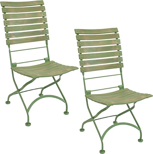 discount Sunnydaze wholesale Cafe Couleur European Chestnut Wooden Folding Bistro Chair - Portable, Compact Side Chair - Indoor high quality or Outdoor Use - Patio, Deck, Balcony, Camping and Spare Seating - Green - Set of 2 online