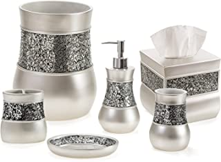Creative Scents Bathroom Accessories Set, 6 Piece Bath Set Collection Features Soap Dispenser, Toothbrush Holder, Tumbler,...