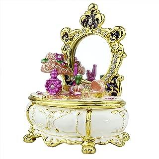 echomerx Victorian Dresser White Trinket Box with Austrian Crystals Pewter Enameled w/Real Mirror