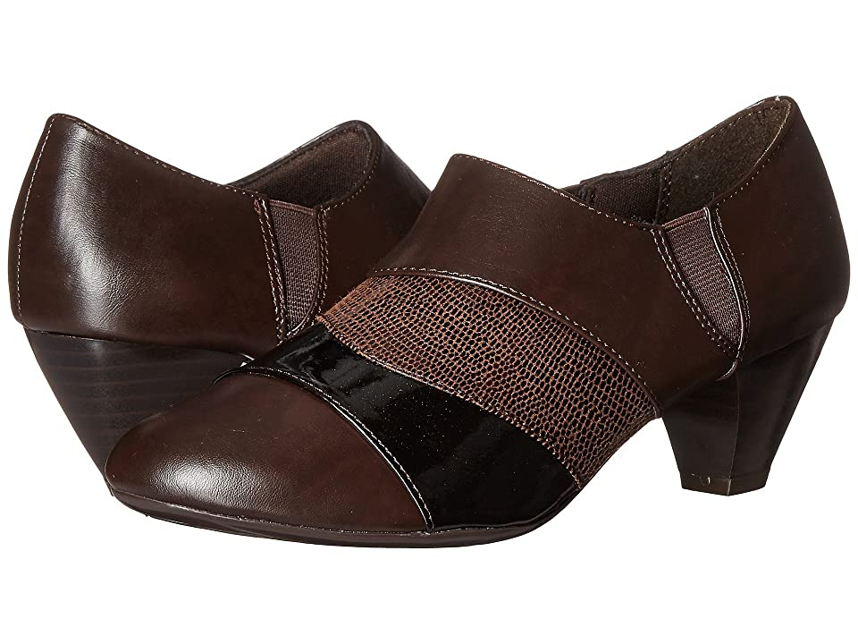 Soft Style Geva (Dark Brown Vitello/Pearlized Patent/Lizard) Women