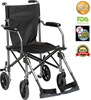 HEALTHLINE Transport Wheelchair Light Weight With Carrying Bag