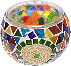 IMIKEYA Mosaico de Vidro Castiçal Copo de Vidro Titular da Luz Do Chá Do Vintage Ornamento Plantas Em Vasos Tigela Caneta ...