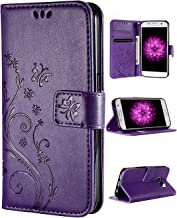 FLYEE Galaxy S7 Walelt Case, Emboss Butterfly Flower Premium Leather Folio Flip Style with Card Slots Magnetic Back Cover for Samsung Galaxy S7 5.1 inch Purple