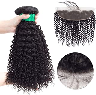 HANBINGPO Mongolian Afro Kinky Curly Hair Weave Bundles with Lace Frontal 13x4 Non Remy Human Hair Extensions 4 pcs/lot,14 14 14 & Closure12,Free Part