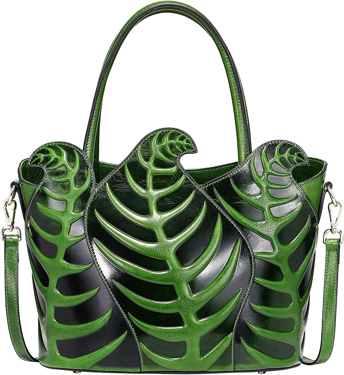 Pijushi Designer Inspired Ladies Top Handle Handbags Embossed Leather Satchel Tote Shoulder Bags 22353 (Green)