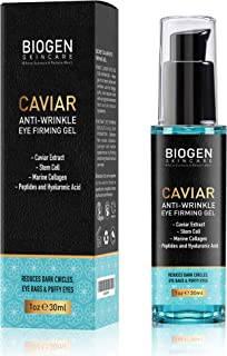 Eye Gel Serum with Caviar Extract - Best Firming Anti Aging Ingredients. Stem Cell, Collagen Blended Together to Fight Wrinkle, Dark Circles, Eye Bag Around the Eyes.