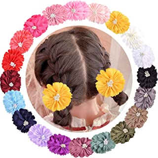 """ALinmo 40 Pieces 2"""" Chiffon Flower Hair Bows Clips Fully Lined Alligator Clips Hair Barrettes Accessories for Baby Girls I..."""