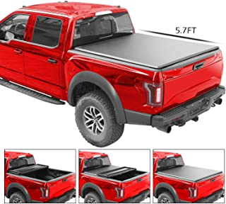 4XBEAM Soft Tri-Fold Truck Bed Tonneau Cover | Fits Dodge Ram 2009-2018, 2019 Classic 1500 (5 ft 7 in bed) | 5 Years Warranty (Not fit RamBox)