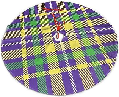 MINIOZE Plaid Colorful Mardi Gras Buffalo Check Themed 30 36 48 Inch Big Christmas Plush Tree Skirt Carpet Mat Rugs Cover Large Round Pad Classic Xmas Party Favors Ornament Decoration