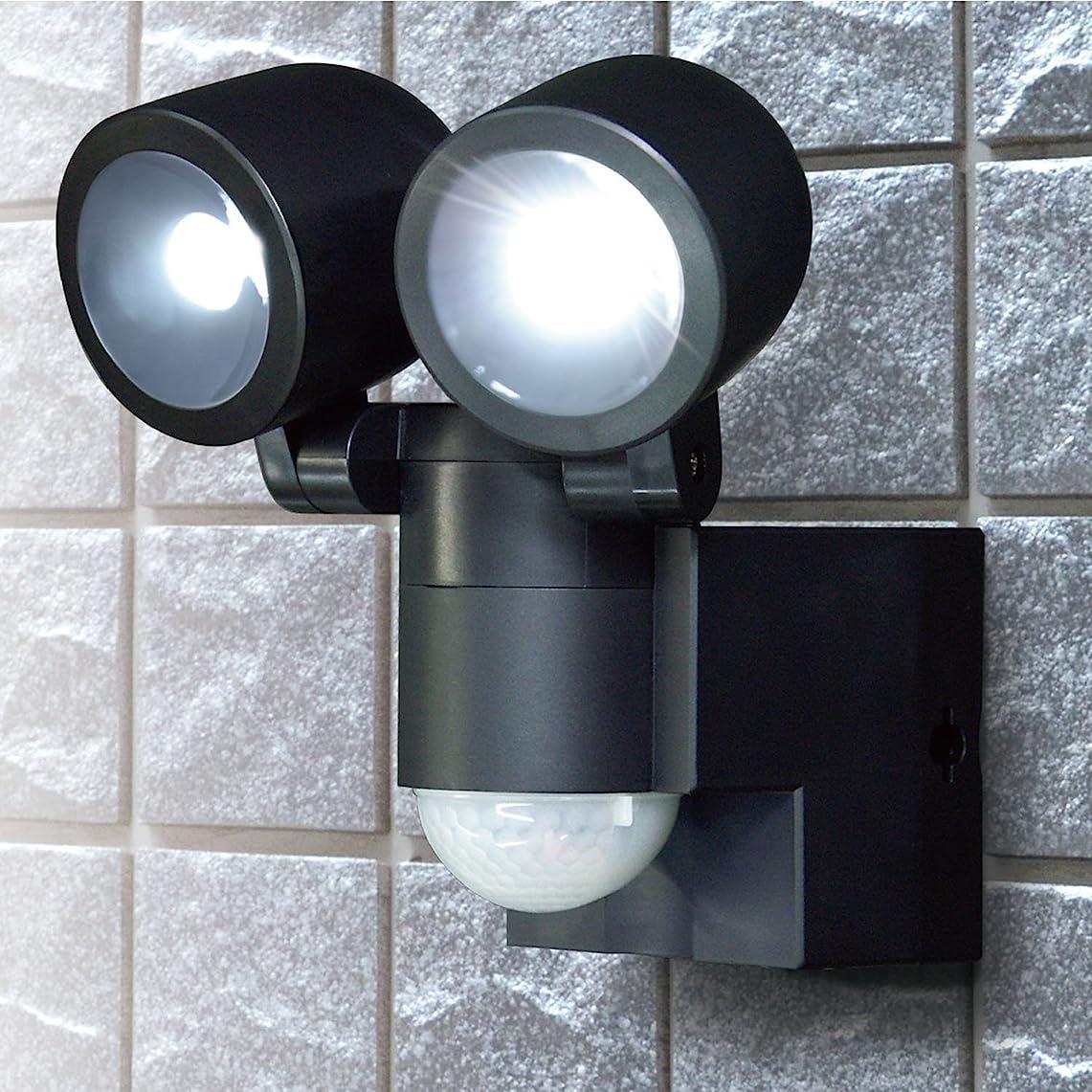 わかる哺乳類君主制ELPA 朝日電器 乾電池LEDセンサーライト2灯 ESL-N102BT(BK) ESL-N102BT(BK)