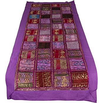 Tribe Azure 100% Cotton Table Runner Hand Embroidered Boho Bohemian Colorful Patchwork Indian Decoration Decor Tapestry (Purple Sequin Patchwork)