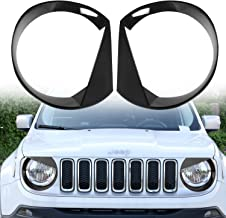 RT-TCZ Front Light Cover Angry Bird Headlight Bezels Cover ABS Trim For 2015 2016 2017 Jeep Renegade-2PCS (Black)