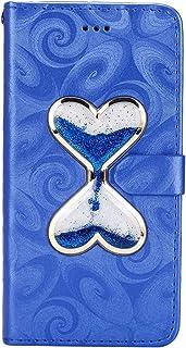 JAWSEU Fodral plånbok kompatibel med Galaxy S9 Plus flip fodral, bling glitter vätska flöde hjärta design PU-läder folio s...
