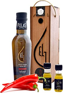 Organic Greek red pepper infused extra virgin olive oil, finishing oil in dark glass bottles, perfect wooden gift set for holidays with extra samples, 250 ml