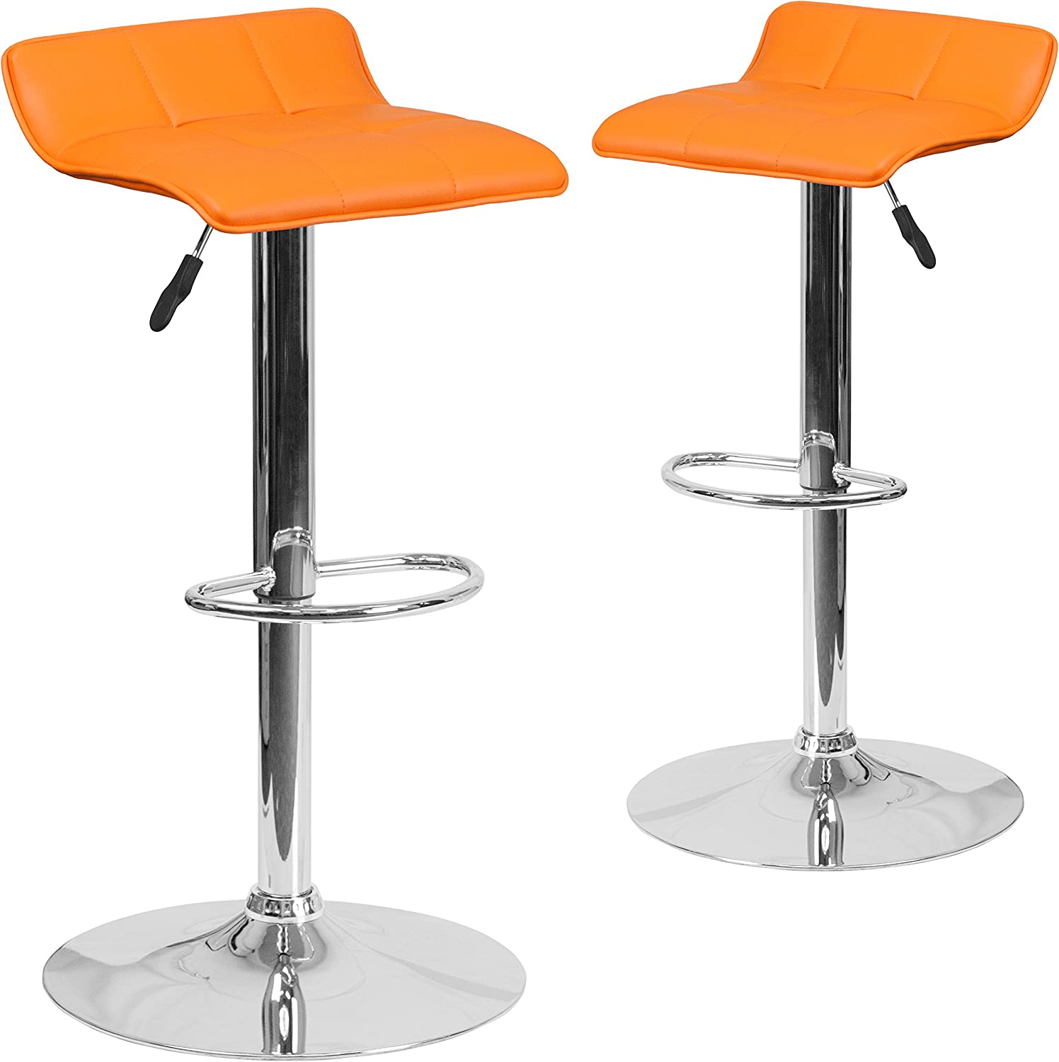 Flash Furniture 2-DS-801B-OR-GG 2-Pack Contemporary orange Vinyl Adjustable Height Barstool with Chrome Base and Footrest