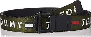 حزام منسوج قابل للعكس مزود ببكرة بعرض 3.5 سم وطبعة تومي جينز للرجال من تومي هيلفجر، ازرق، طول 105 سم