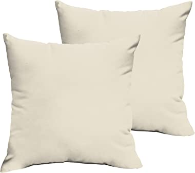 Mozaic Company AMPS105726 Indoor Outdoor Sunbrella Square Pillows, Set of 2, 20 x 20, Canvas Natural Ivory