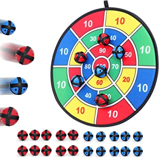 Fabric Dart Board Game with 20 Balls - Hook-and-Loop Fasteners- 14.5 Inches Diameter - Safe for Kids