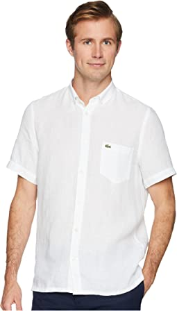 Short Sleeve Solid Linen Button Down Collar Regular