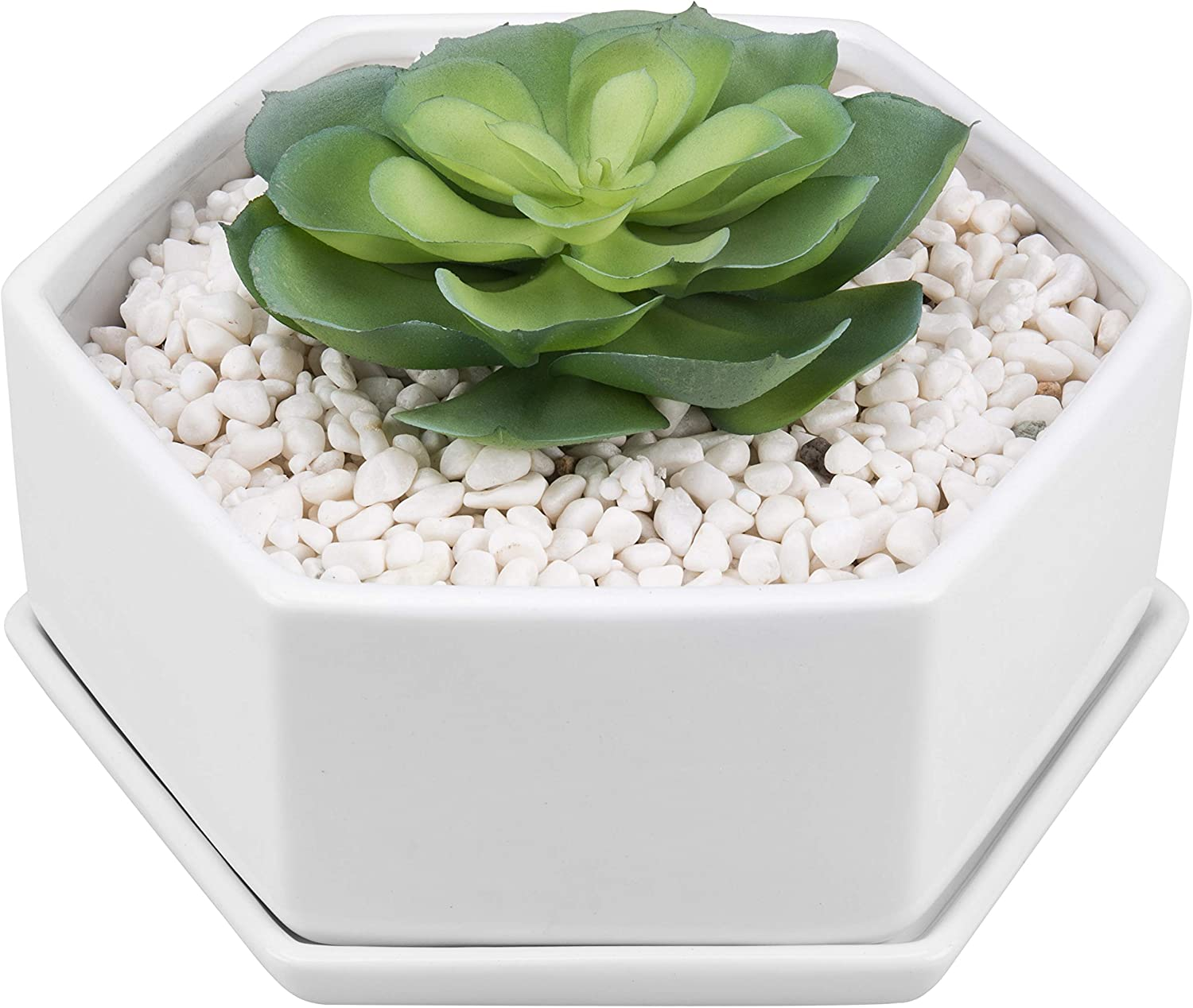 MyGift 9-inch Hexagonal White Max 64% OFF Ceramic Planter Succulent with wholesale Pot
