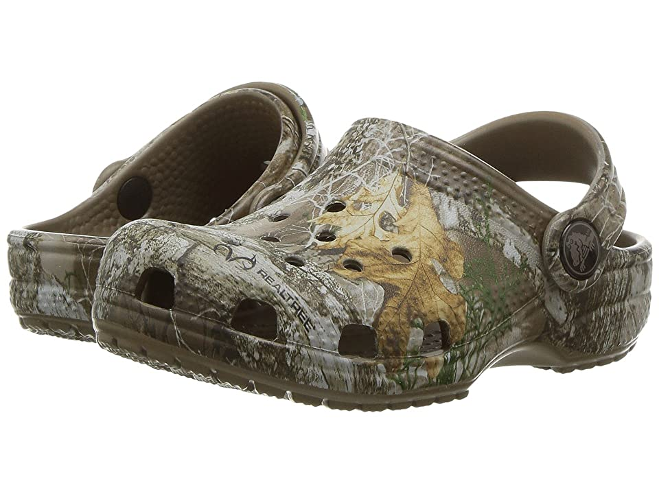 Crocs Kids Classic RealTree Edge Clog (Toddler/Little Kid) (Walnut) Kids Shoes