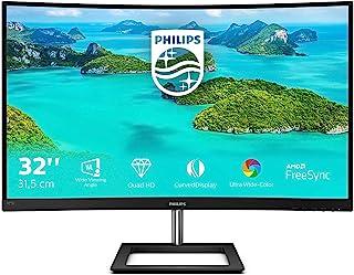 Philips 325E1C- 32 Inch QHD Curved Monitor, AMD FreeSync, Flicker Free, Smart Image (2560 x 1440, 75 Hz, 250 cd/m², 4 ms, ...