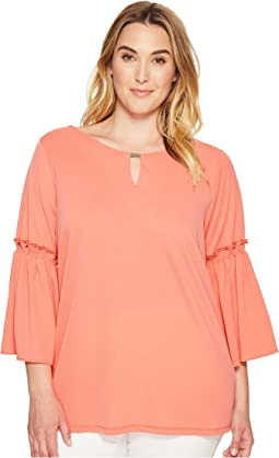 Plus Size Flutter Sleeve Top with Hardware