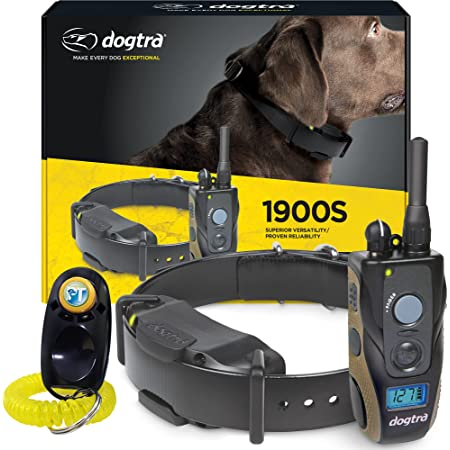 Dogtra 1900S Remote Training Collar - 3/4 Mile Range, Waterproof, Rechargeable, 127 Training Levels, Vibration - includes PetsTEK Dog Training Clicker