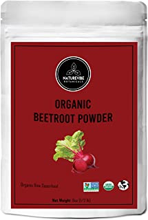 Organic Beet Root Powder (8 Ounces) by Naturevibe Botanicals, Raw & Non-GMO   Nitric Oxide Booster   Boost Stamina and Inc...