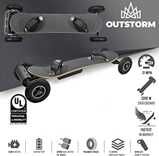 OUTSTORM 31MPH Off Road Electric Skateboard – 3300w Motorized Mountain Longboard with Dual Motors - 11 Layers, All-Terrain, 4 Wheels, Remote Controlled High Speed Board (11Ah Battery)