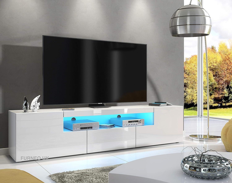 Furneo White TV Stand 10cm Unit Matt & High Gloss Clifton10 Blue LED Lights