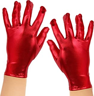 Skeleteen Metallic Red Costume Gloves - Shiny Red Superhero Evening Stretch Dress Glove Set for Men, Women and Kids