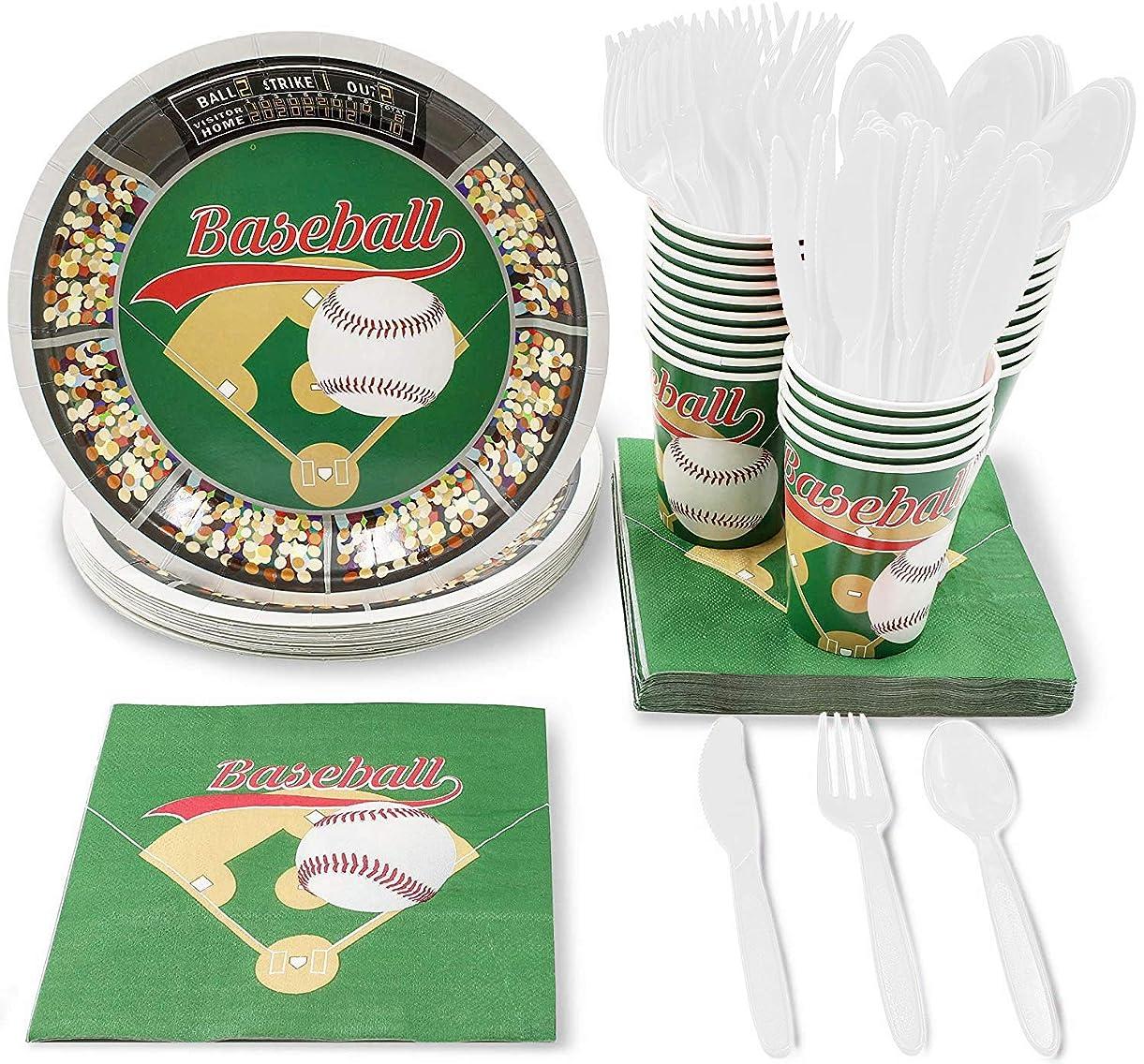 モーテルしてはいけない人差し指Disposable Dinnerware Set - Serves 24 - Baseball Party Supplies - Includes Plastic Knives, Spoons, Forks, Paper Plates, Napkins, Cups