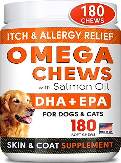 STRELLALAB Fish Oil Omega 3 Treats for Dogs - Allergy...