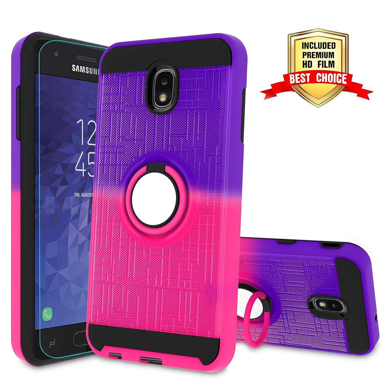 J7 2018 Case with HD Screen Protector,Atump Ring Holder & Kickstand Bracket Phone Cover for Samsung Galaxy J7 Aero/J7 Top/J7 Crown/J7 Aura/J7 Refine/ J7 Eon /J7 Star/J7 2018 Purple/Red