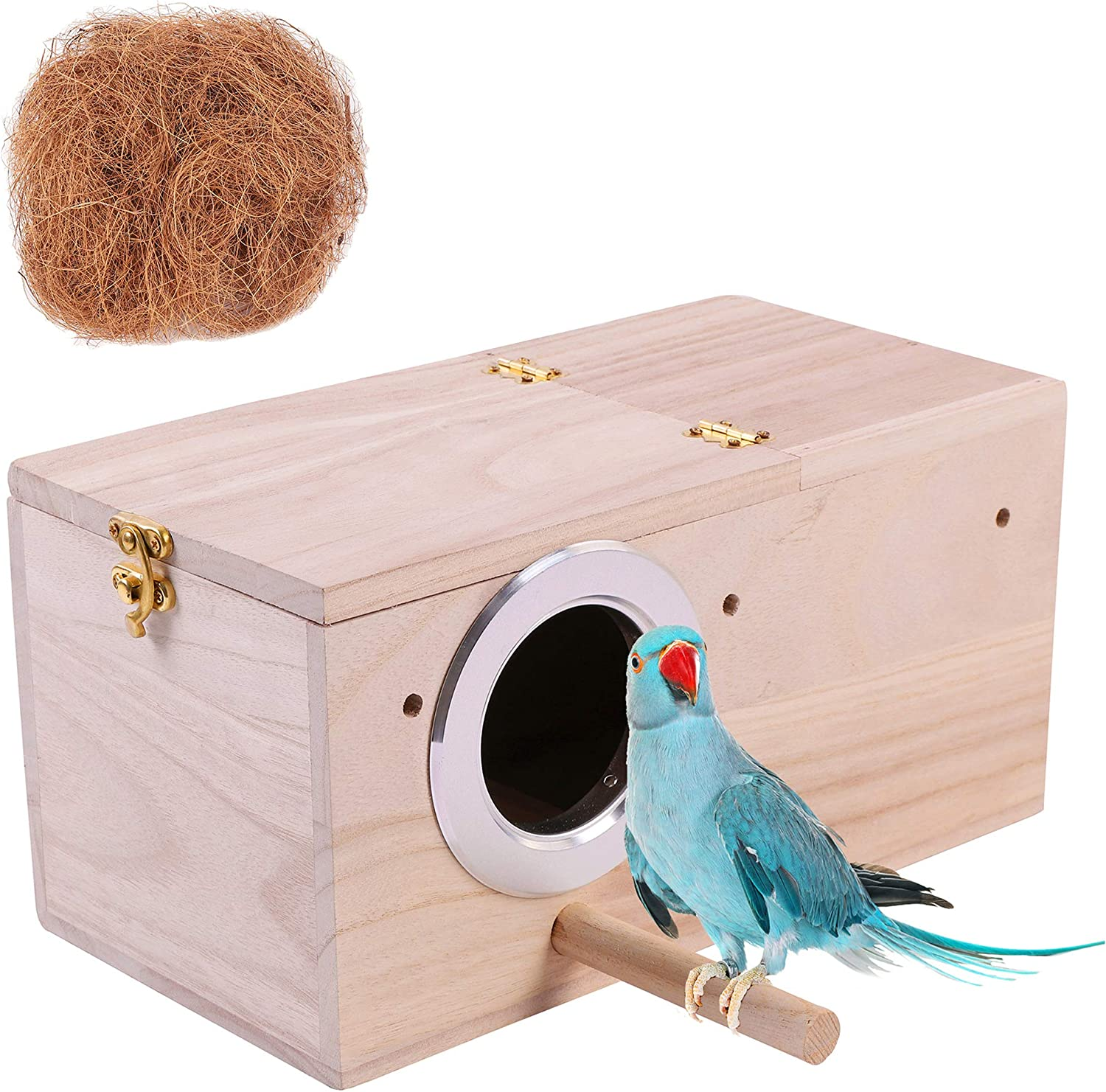 Hand Cheap mail order sales Crafted Parakeet [Alternative dealer] Nest Box; Budgie Natural Bird with C House
