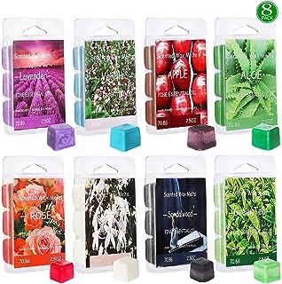 YIH Set of 8 Assorted Wax Cubes/Melts/Tarts - 2.5 oz Each Apple, Aloe, Green Tea, Sandalwood, Rose, Vanilla, Jasmine, Lave...