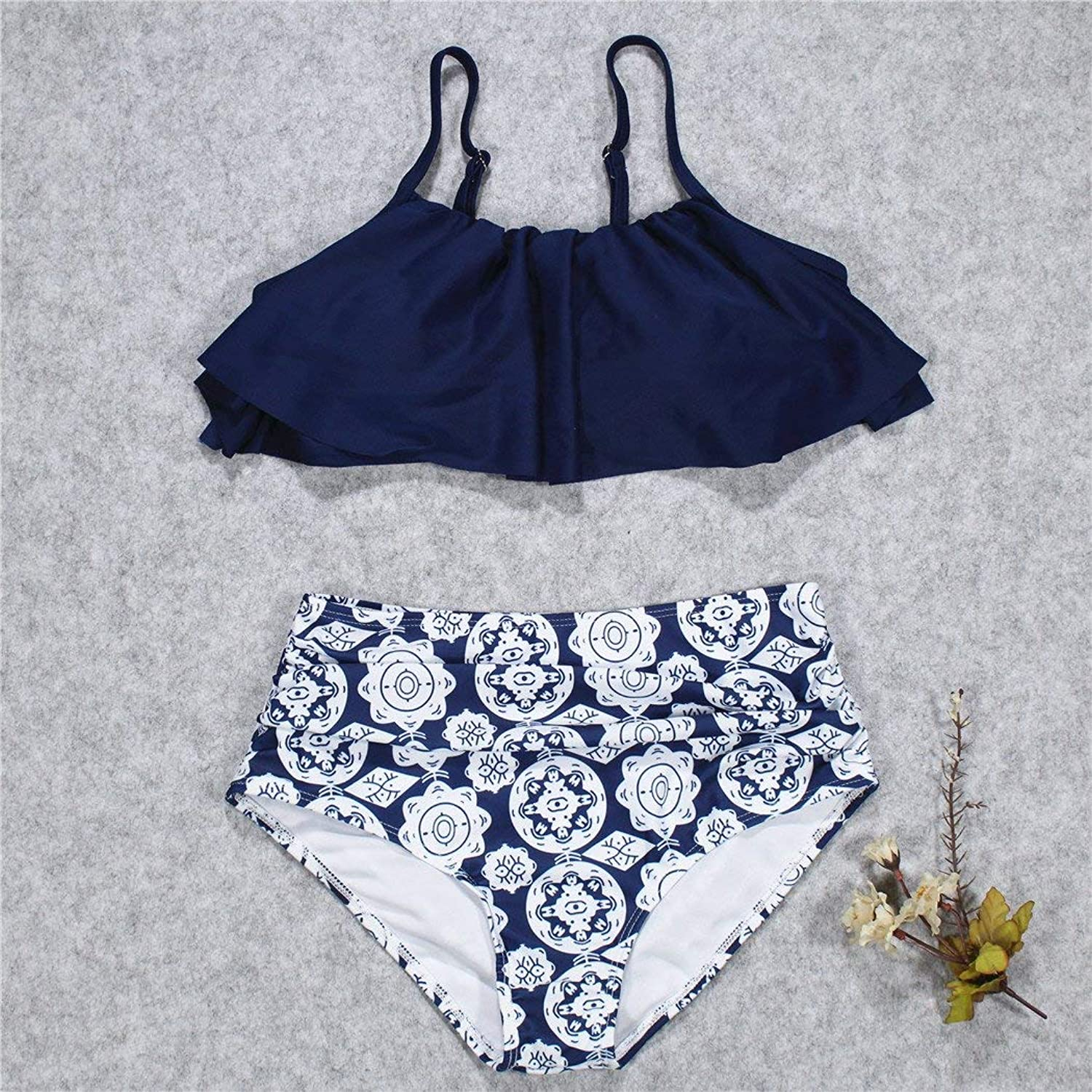 The Straps Bikini Slotted Shoulder Split Lotus Leaves Printing Multicolor High Waist, Navy,XL (color   As Shown, Size   One Size)
