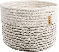 INDRESSME Small Storage Basket - Cute Cotton Rope Basket - Closet Storage Bins - Desk Basket Organizer - Baby Nursery Organizer for Toy Storage Bin- 9.4