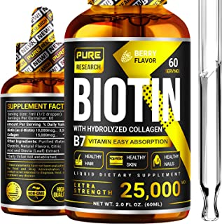 Sponsored Ad - Biotin & Collagen 25,000mcg, Healthy Hair Growth Support Liquid Drops, Supports Strong Nails, Glowing Skin,...