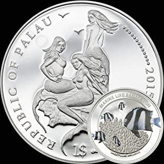 2015 WHITETAIL DAMSELFISH - Palau Marine Life Protection Silver Plated Copper CuNi One Dollar Aquarium FIsh Coin $1 MERMAID