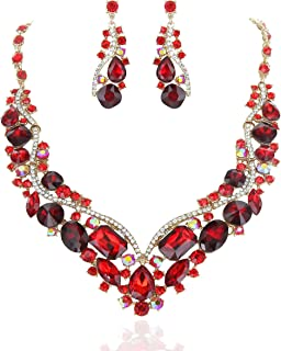 SP Sophia Collection Women's Wedding Bridal Austrian Crystal Necklace and Earrings Jewelry Set
