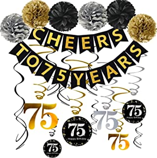 75th Birthday Party Decorations Set- Gold Glittery Cheers to 75 Years Banner,Poms,12Pcs Sparkling 75 Hanging Swirls for 75th Birthday Decorations 75 Years Old Party Supplies