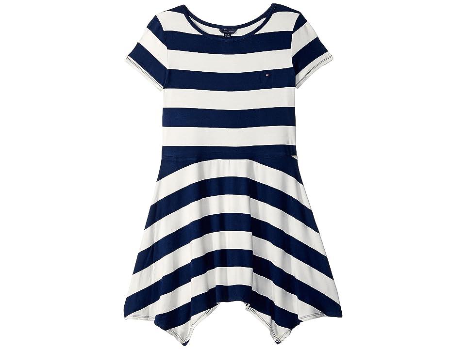 Tommy Hilfiger Kids Yarn-Dye Handkerchief Dress (Big Kids) (Whisper White) Girl