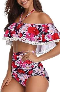 Women High Waisted Tassel Flounce Off Shoulder Swimsuit