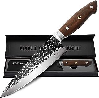 KONOLL Couteau de chef professionnel de 20,3 cm en acier à haute teneur en carbone avec manche en bois ergonomique, lame f...
