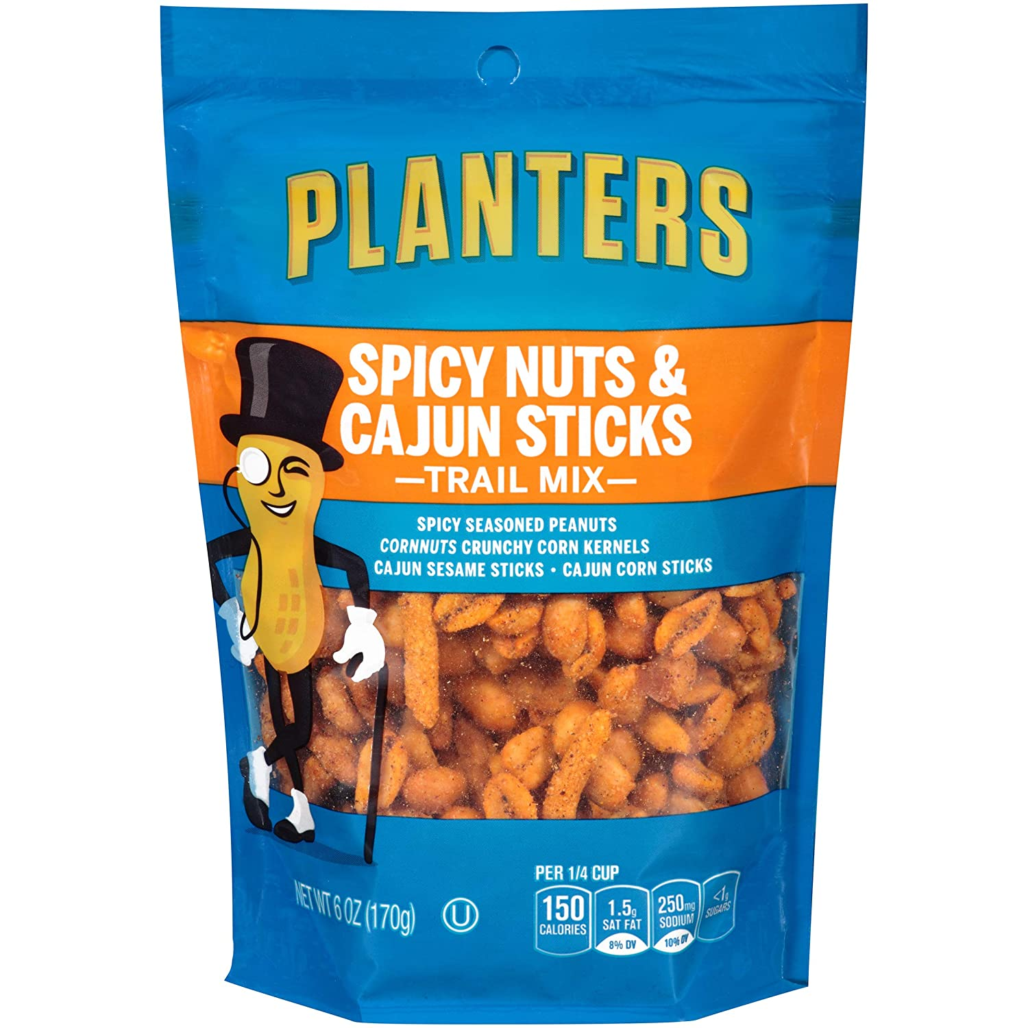 Planters Spicy Nuts & Cajun Sticks Trail Mix (6oz Bags, Pack of 6)